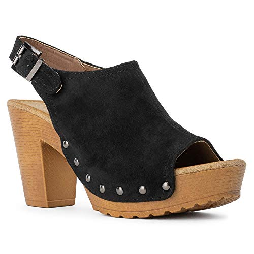 Ankle Strap Faux Wood - Women's Platform Heeled Sandals Ankle Slingback Strap Faux Wood Chunky Block Heel Peep Toe Clogs Shoes Black 6