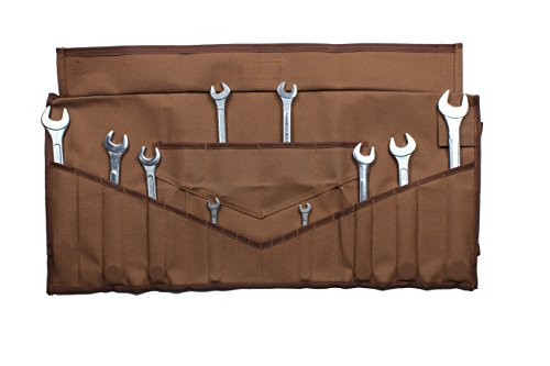 Bull Tools BT 1608 Dyed 100% Cotton 15 Oz. Heavy Weight Duck Canvas Wrench & Tool Roll Pouch Bag 22+4 Pocket Cinnamon Brown (Multi Oil Wrench)
