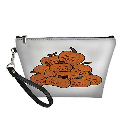 makeup bag pouchcosmetic carrying bagpumpkins pile for Halloween Lot of vegetables for holiday 8.5