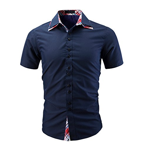 (Men Shirts, Mens Short Sleeve Oxford Formal Casual Solid Color Slim Fit Tee Dress Shirts Blouse Top by Nevera Navy)