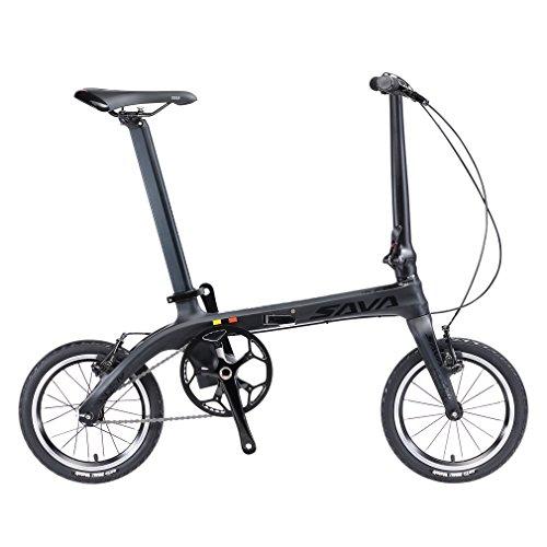 SAVADECK Folding Bike, 14 inch Carbon Fiber Frame Fixed Gear Single-Speed Fixie Urban Track Bike Mini City Foldable Bicycle with Headlights (Black Grey, ()