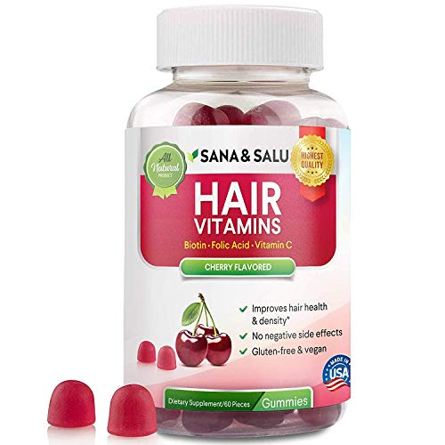 Hair Growth Vitamins Gummies with Biotin, Vegan, Gluten-Free, Stronger, Healthier, Thicker Hair Regrowth by Sana & Salu (60 pcs)