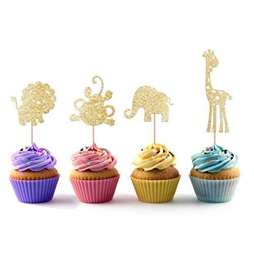 Lion Monkey Giraffe Elephant Safari Cupcake Topper 12 Pack Cupcake Topper Decoration Cake
