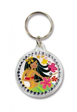 Island Hula Honeys Rhinestone Acrylic Keychain ()