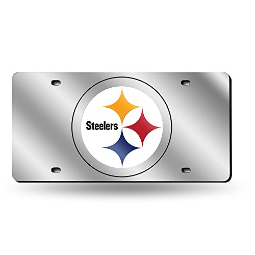 Rico Industries LZS2301 Laser Cut Auto Tag - Pittsburgh Steelers, Silver by Rico Industries