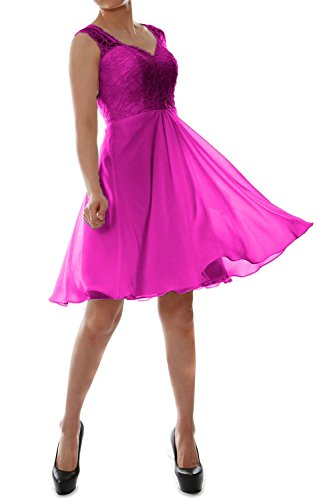 MACloth Women V Neck Lace Chiffon Short Formal Evening Cocktail Party Dress Fuchsia