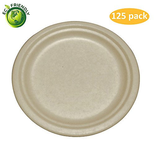 Greenpeak Disposable Plates Set (125-Pack) Salads, Appetizers, Desserts | Compact, Round Dinnerware | Eco-Friendly, Biodegradable, Compostable | Microwave (Wheat Round Serving Plate)