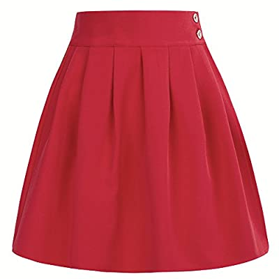 Belle Poque Women's Classic Double Waist Side Buttons A-Line Pleated Skirt