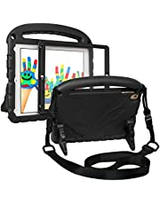 HDE Kids Case for iPad 2018 iPad 9.7 2017 Heavy Duty Protective Holder Shock Proof Cover Built in Screen Protector for 5th Gen & 6th Generation iPad (Includes Shoulder Strap) - Black