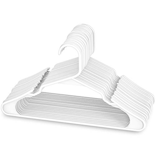 (Sharpty White Plastic Hangers, Plastic Clothes Hangers Ideal for Everyday Standard Use, Clothing Hangers (20 Pack))