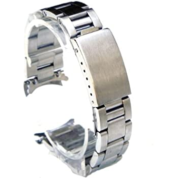 SS Oyster Solid Link 20mm Curved Ends Watch Band