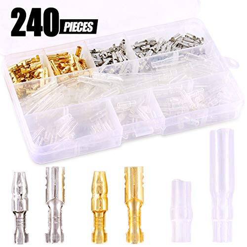 Swpeet 240Pcs Bullet Connectors Kit, 3.9mm Brass Bullet Male & Female Wire Terminals Connector with Insulation Cover for Motorcycle Scooter Car Truck with Insulation Sleeve