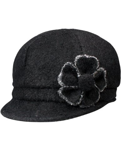 Dahlia Women's Chic Flower Newsboy Cap Hat Wool Blend - Dual Layer, Black