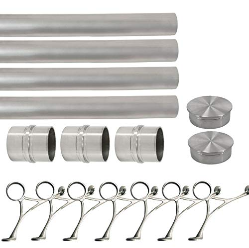 Top Hardware Solid Bar Foot Rail Kit (Extra Long, Custom-Made Item) - Brushed Stainless Steel Tubing (2 in OD, 30 ft Length) w/Internal Connector - Combination Foot Rail Brackets - Flat End Caps