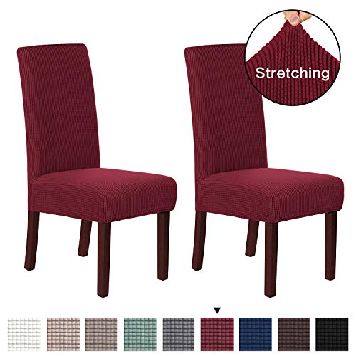 H.VERSAILTEX Super Fit Soft Spandex High Back Dining Chair Covers (Set of 2) Rich Textured Lycra Small Checks Knitted Jacquard Dining Room Chair Seat Slipcover/Protector/Shield, Burgundy Red (Red Chairs High Back Dining)