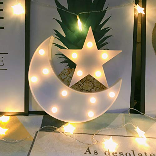 (Decorative Moon-Star Night Light,Cute LED Nursery Night Lamp Gift-Marquee Moon-Star Sign for Birthday Party,Baby Shower,Kids Room, Living Room Decor(White))