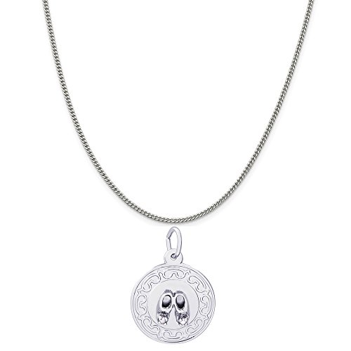 - Rembrandt Charms Sterling Silver Baby Booties Disc Charm on a Curb Chain Necklace, 18