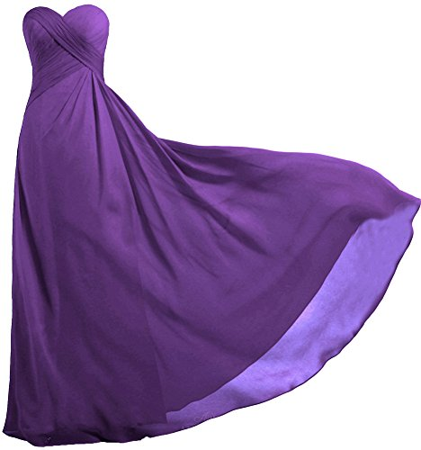 (ANTS Women's Strapless Long Bridesmaid Dresses Chiffon Wedding Prom Gown Size 14 US Purple)