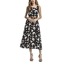 SciMam Women Summer Sleeveless Floral Print Beach Long Dress Casual Maxi Dresses