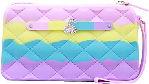 Scented Wristlet Purse - Yummy Gummy Silicone Clutch & Smores Jewel - Style: Frosted Cupcake - Toasted Marshmallow Scent-Girls & Teen Accessories - Dress-Up