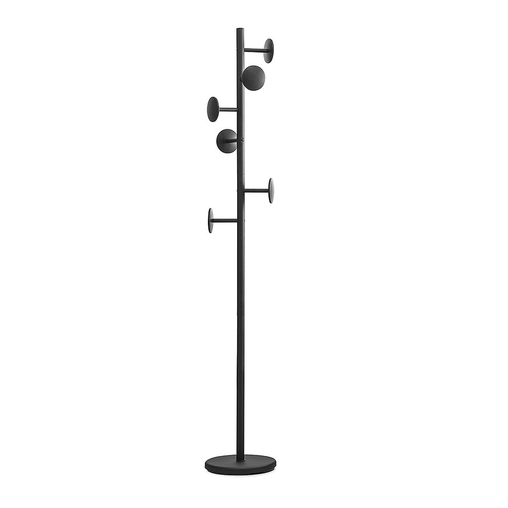 Balvi Shiitake coat stand with 6 hooks. Colour: black. Height: 174cm. To hang all kinds of clothes: coats, jackets, scarves, hats and more