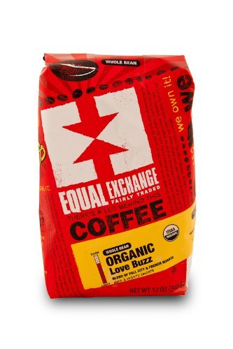 EQUAL EXCHANGE ORGANIC COFFEE: LOVE BUZZ, WHOLE BEAN, 3 - 12 OUNCE BAGS