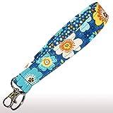 Blue Floral Key Fob - 6'' Loop - Flower Keychain - Keychain Strap - Purse or Wallet Strap