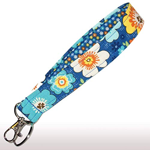 Blue Floral Key Fob - 6'' Loop - Flower Keychain - Keychain Strap - Purse or Wallet Strap by Green Acorn Kitchen