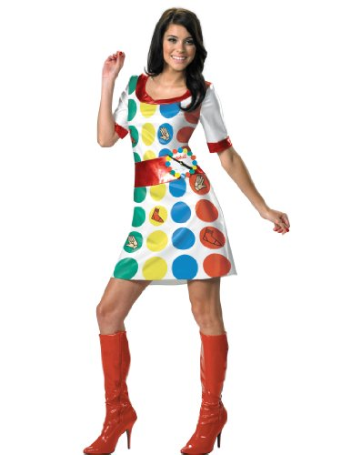 70s Twister Costume Dress with Spinner Easy Sexy Womens Theatrical Costume Sizes: Medium - Twister Halloween Costume Funny