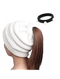 Winter Thick Knitted BeanieTail Soft Stretch Knit Messy High Bun Ponytail Beanie Hat