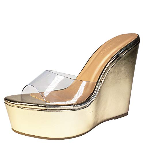 BAMBOO Women's Clear Band Platform Wedge Slide, Gold PU, 7.5 B US