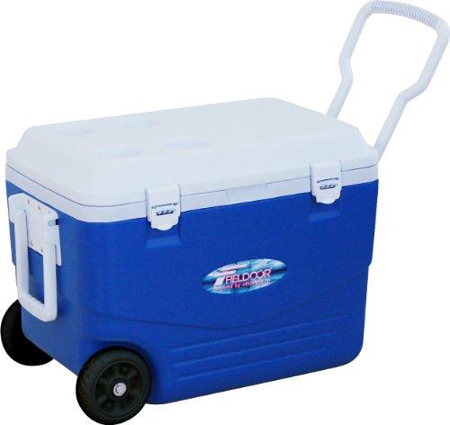 人浴室レインコートFIELDOOR クーラーボックス キャスター付き ブルー 46L / 50L / 80L / 100L / 150L (3層構造保冷 / 2WAYハンドル)