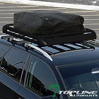 "Topline Autopart 53"" Universal Black Oval Adjustable Aluminum Roof Rail Rack Cross Bars + Basket + Cargo Carrier Waterproof Utility Bag"