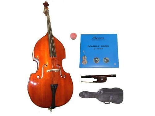 GRACE 3/4 Size Student Natural Upright Double Bass with Bag,Bow,Bridge+2 Sets Strings+Rosin