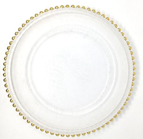 Beaded Dinner - Lovely Glass Dinnerware Formal 13-Inch Beaded Rim Clear Glass Charger Plate Wedding Receptions Anniversary Dinners Modern Appeal Glass Plates (24, Gold)