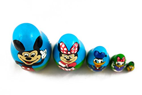Matryoshka Babushka Russian Nesting Wooden Doll Cartoon Mickey Mouse Minnie Donald Duck Babouska Matrioska Stacking 5 Pcs by MATRYOSHKA&HANDICRAFT (Image #1)