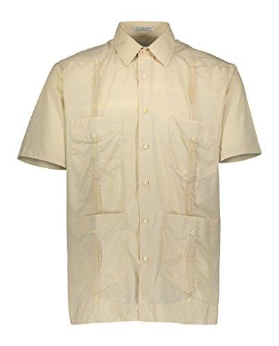 Gentlemens Collection Mens Short Sleeve Linen Look Guayabera Shirt Natural NT X-Large