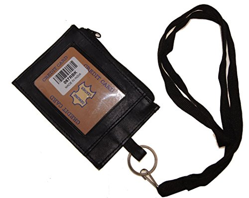Improving Lifestyles Leather Neck ID Card Badge Holder Window ID side Zipper Pocket O Ring to Clasp Thick Soft Removeabl
