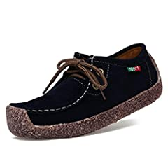 Women Slip On Walking Flats Loafers Lace Up Suede Comfy Breathable Round Toe Casual Driving Moccasins              Item Type:Flats       Outsole Material:Rubber       Closure Type:Slip-On       Flats Type:Loafers       Upp...