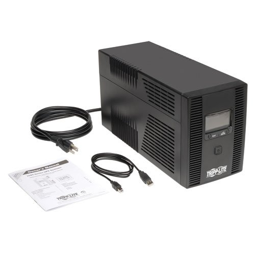 41ryU9JArGL - Tripp Lite 1500VA 900W UPS Battery Back Up, AVR, LCD Display, Line-Interactive, 10 Outlets, 120V, USB, Tel & Coax Protection (SMART1500LCDT)