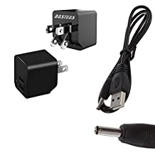 2in1 dual mini wall outlet charger with double USB power ports & sized pocket for travel 2.4 Amp 12W with USB charge cable designed for the Sirius StarMate ST2