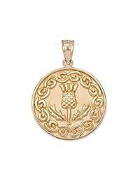 10K Yellow Gold Scottish Thistle Flower Medallion Pendant
