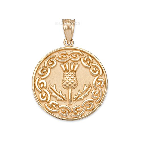 14K Yellow Gold Scottish Thistle Flower Medallion Pendant - Flower Medallion Pendant