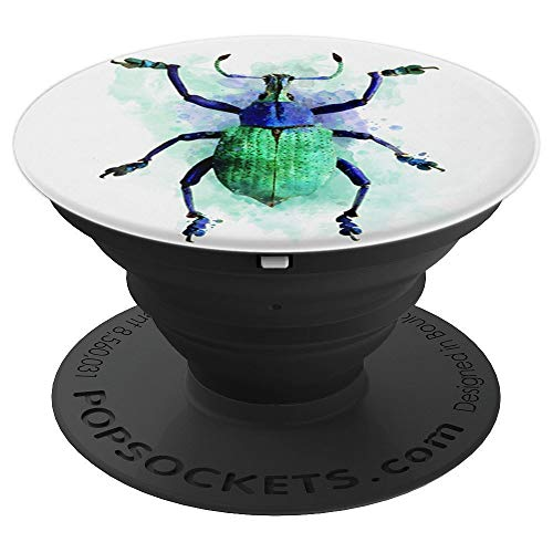 Watercolour green violet beetle insect bug painting - PopSockets Grip and Stand for Phones and Tablets