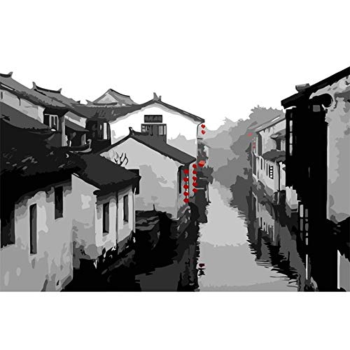BeesClover Chinese Style Water Village Pictures for Living Room Coloring by Numbers Canvas Art Home Decor DIY Oil Painting by Numbers 40x50cm by BeesClover