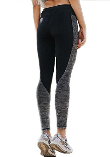 CFR Women Workout Gym Yoga Sports Clothes Tight Pants Leggings Fitness Stretch Black&Gray S-3XL USPS Post (X-Large, Grey & Black)