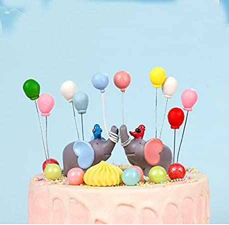 Tremendous Maygone 1 Pair Blue Pink Elephant With Balloons Cake Toppers For Birthday Cards Printable Trancafe Filternl