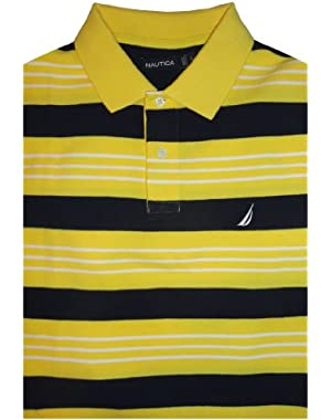 Men's Nautica Short Sleeve Shirt Sunfish Yellow with Navy and White Stripes Size Large