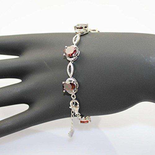Argent 925 Bijoux Créé Ovale Grenat et Zircon Cubique Transparent Bracelet de Tennis