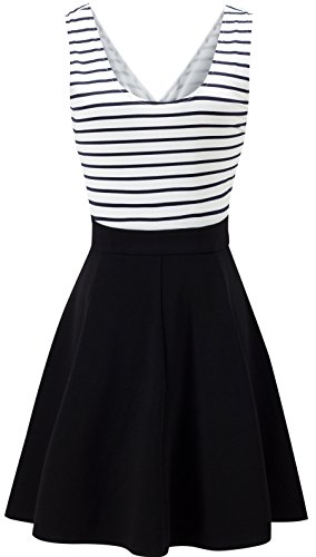 NINEWE Womens Trendy Slim Fit Sleeveless High Elastic Waist striped A-line Skirt Black L